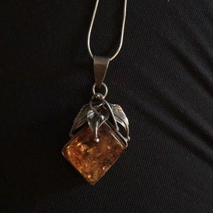 🧡AMBER NECKLACE-Gorgeous Amber stone in sterling